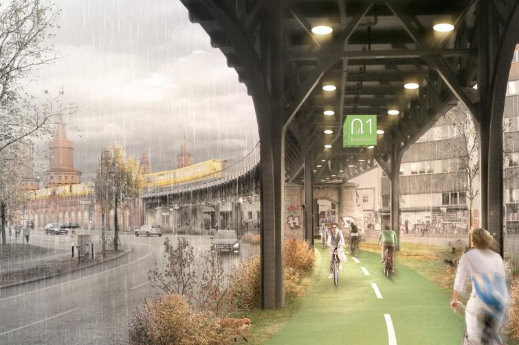 Skizze der geplanten Radbahn